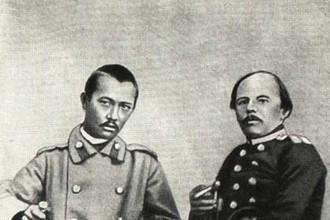 Ч. Валиханов и Ф. Достоевский. Семипалатинск, май 1859 года (вскоре после возвращения Валиханова из Кашгара, поэтому почти лысый — азиатские купцы бреют голову)