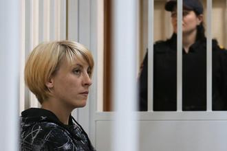 Ольга Алисова во время рассмотрения ходатайства следствия об аресте в Железнодорожном суде Подмосковья, 6 июля 2017 года