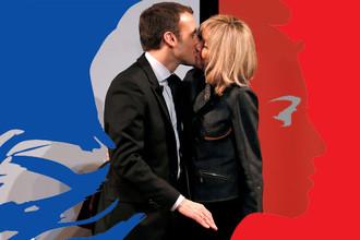 Эммануэль Макрон с супругой Бриджит Тронье во время встречи в честь Международного женского дня в Париже, 8 марта 2017 года. Коллаж с Марианной — символом Французской республики