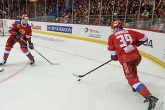 Сборная России по хоккею в матче Еврочелленджа