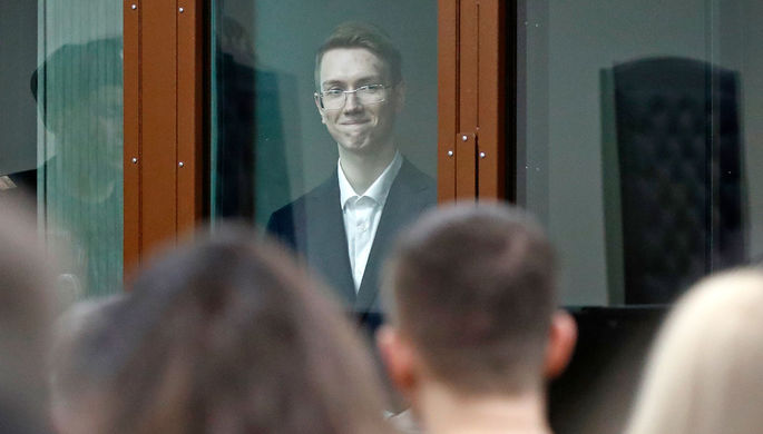 Андрей Баршай во время рассмотрения дела в Мещанском районном суде Москвы, 17 февраля 2020 года