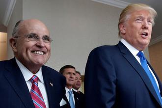 Экс-мэр Нью-Йорка Рудольф Джулиани и президент США Дональд Трамп
