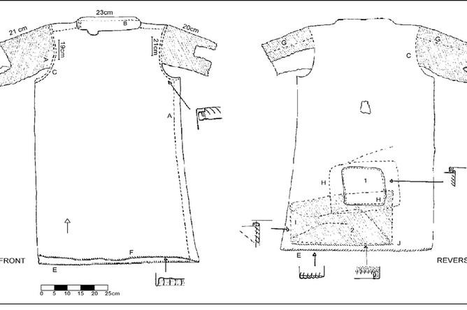 Схематическое изображение лендбринская туника (лицевая и обратная сторона) // Antiquity Publications Ltd