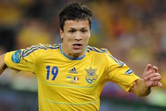 Евгений Коноплянка в матче сборной Украины