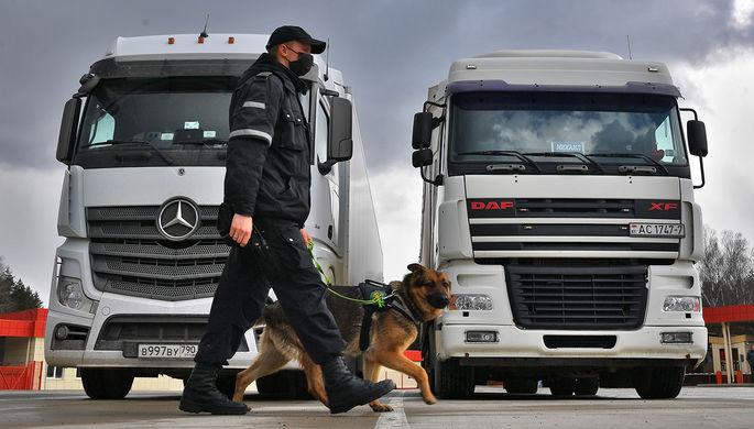 Кинолог со служебной собакой досматривают автомобили в международном пункте пропуска «Урбаны» на белорусско-латвийской границе в Браславском районе Витебской области
