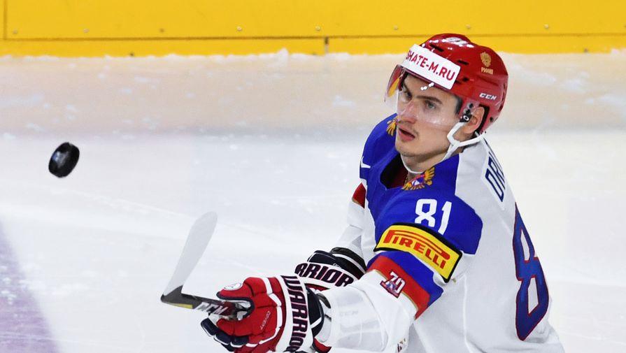 Игрок сборной России Дмитрий Орлов в полуфинальном матче чемпионата мира по хоккею 2017 с Канадой.