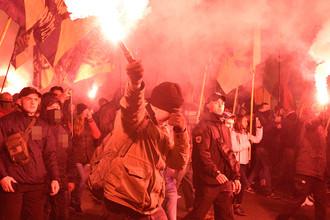 Украинские националисты во время марша в Киеве, октябрь 2017 году