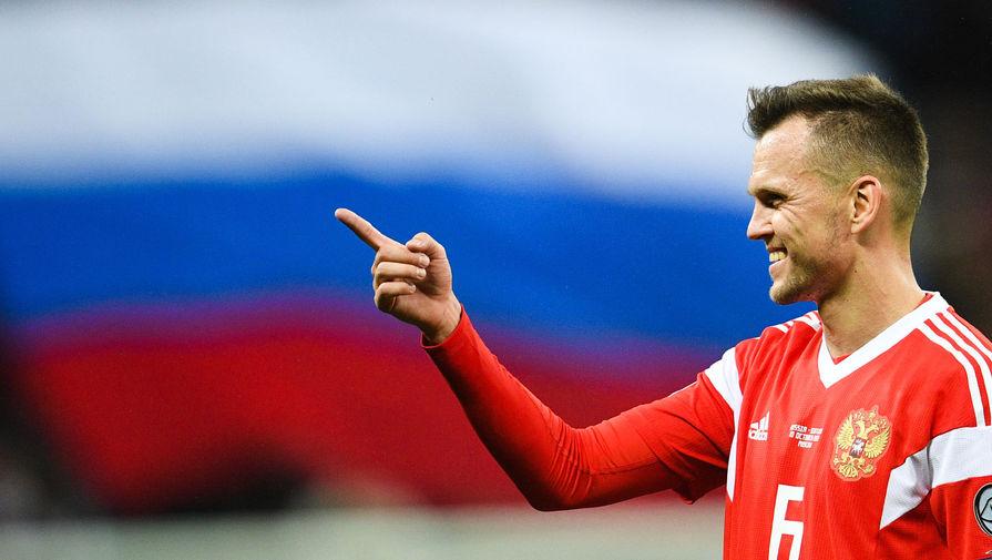 Игрок сборной России Денис Черышев после окончания отборочного матча чемпионата Европы по футболу 2020 между сборными России и Шотландии, 2019 год