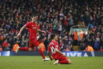 Радость Фелипе Коутиньо после победного мяча в ворота «Манчестер Сити»