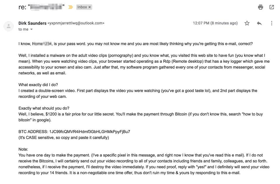 Пример письма вымогателя