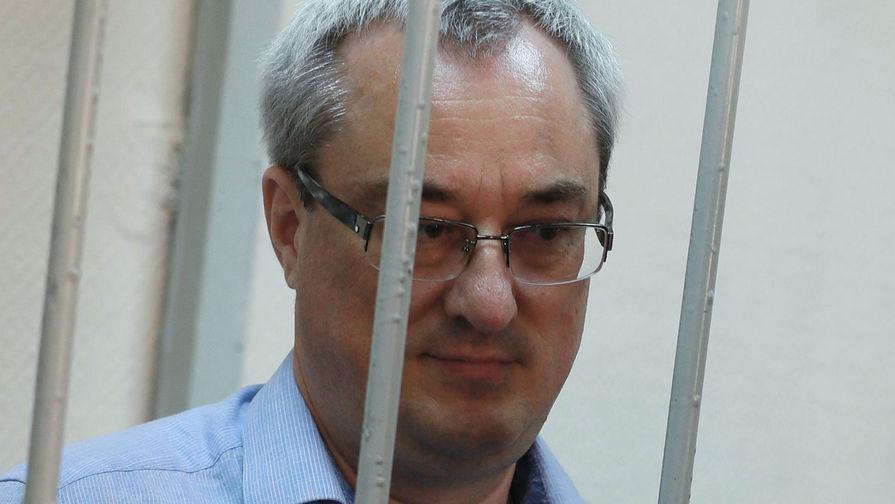 Экс-глава Республики Коми Вячеслав Гайзер, обвиняемый в коррупции и участии в организованном преступном сообществе, во время оглашения приговора в Замоскворецком суде Москвы