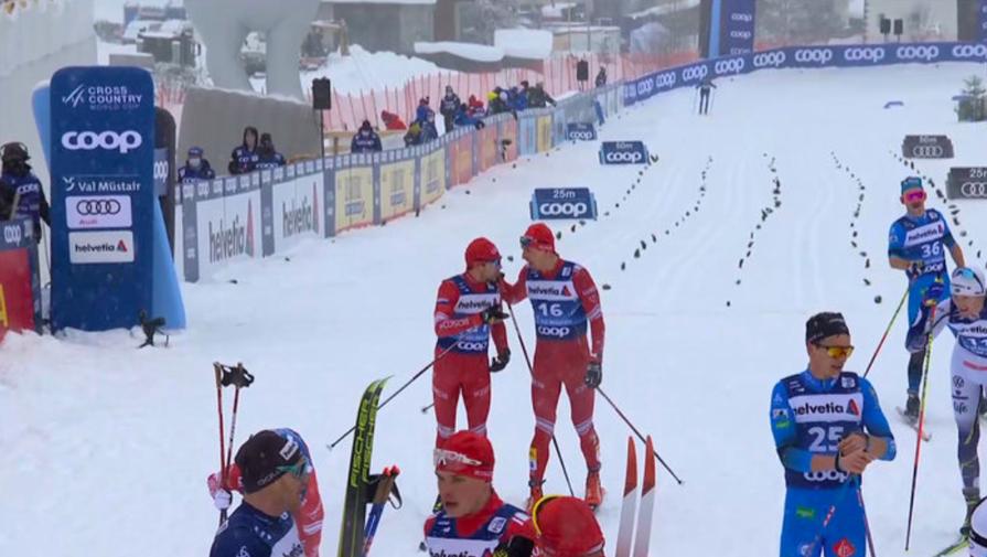 Лыжники Алексей Червоткин и Евгений Белов выясняют отношения