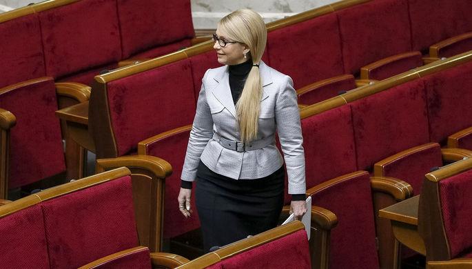 Лидер партии «Батькивщина» Юлия Тимошенко перед началом сессии Верховной рады Украины...