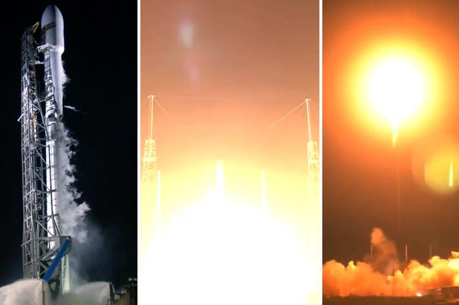 Коллаж из снимков момента запуска ракеты-носителя Falcon 9 со спутником Hispasat 30W-6 с мыса Канаверал во Флориде, 6 марта 2018 года