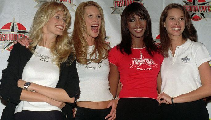 Клаудиа Шиффер, Эль Макферсон, Наоми Кэмпбелл и Кристи Дарлингтон, 1995 год