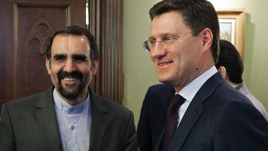 Посол Ирана в России Мехди Санаи и министр энергетики Александр Новак во время встречи первого...
