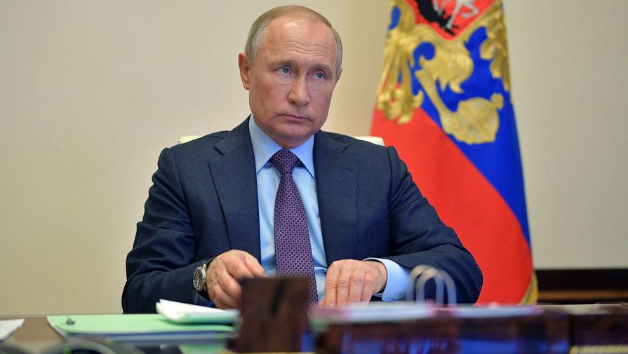 Президент РФ Владимир Путин проводит в режиме видеоконференции совещание о мерах по поддержке российской экономики в части, касающейся банковского кредитования, 23 апреля 2020 года