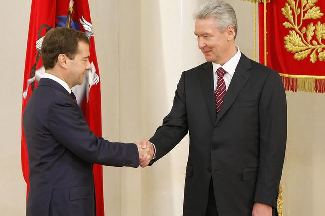 Президент РФ Дмитрий Медведев и Сергей Собянин на церемонии инаугурации на пост мэра Москвы, 21 октября 2010 года