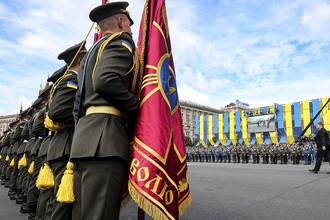 Во время военного парада по случаю 26-й годовщины независимости Украины, 24 августа 2017 года