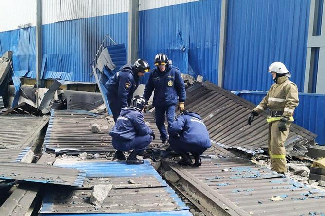 На месте взрыва на предприятии в Мценске Орловской области, 31 января 2020 года