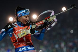Татьяна Акимова на огневом рубеже гонки преследования в Нове-Место