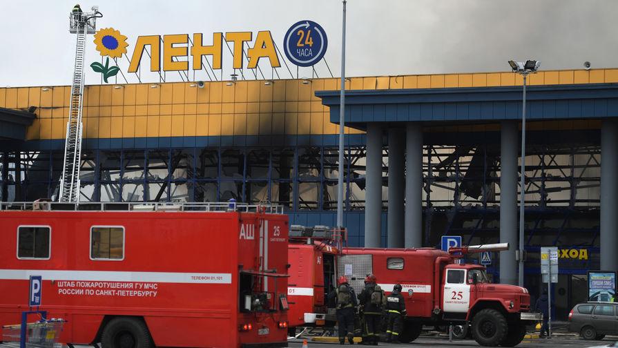 Опубликовано видео пожара в гипермаркете в Санкт-Петербурге