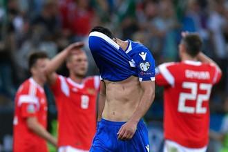 Игрок сборной Кипра Константинос Лайфис в отборочном матче чемпионата Европы по футболу 2020 между сборными командами России и Кипра.