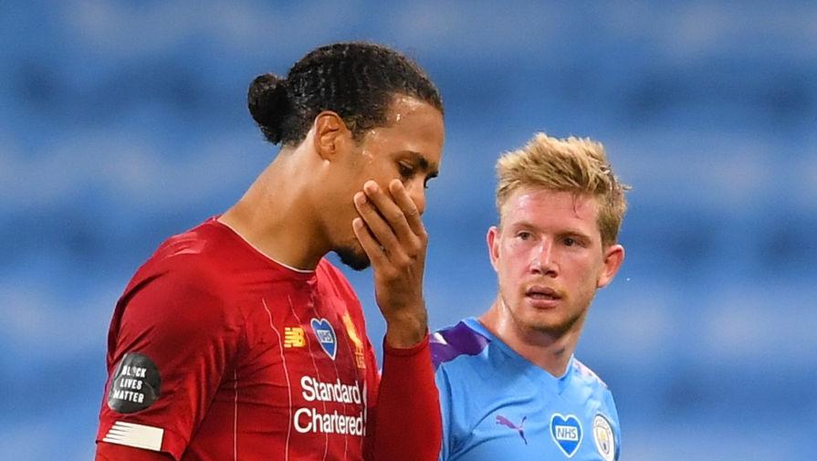 Вирджил ван Дейк и Кевин Де Брейне в матче «Манчестер Сити» — «Ливерпуль»