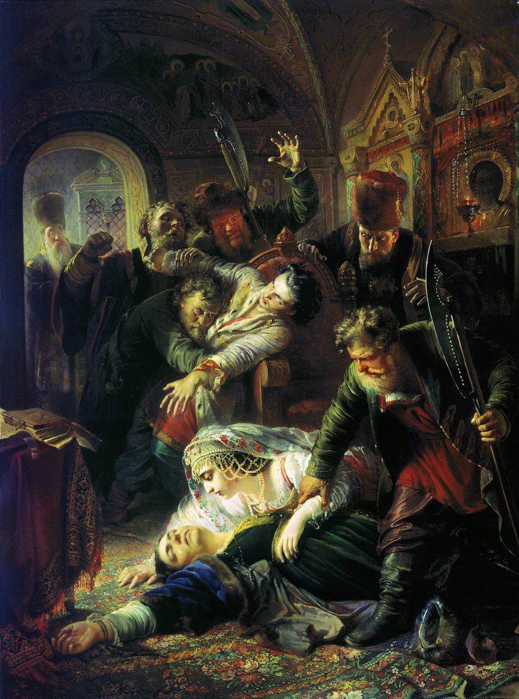 Константин Маковский. Агенты Дмитрия Самозванца убивают сына Бориса Годунова. 1862