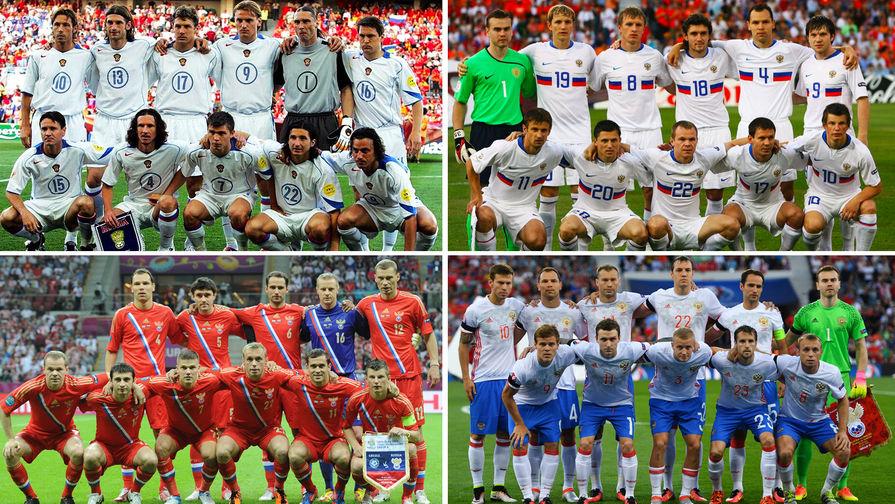 Сборная России по футболу в 2004, 2008, 2012 и в 2016 году (коллаж)