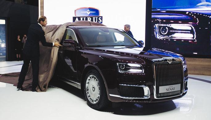 Во время премьеры автомобилей Aurus Senat, разработанных в рамках проекта «Кортеж», на Московском международном автосалоне, 29 августа 2018 года
