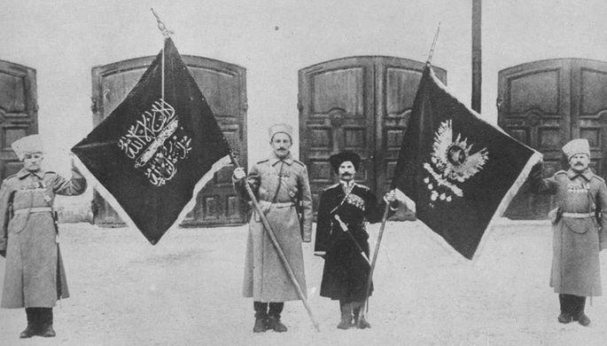 Захваченные турецкие знамена в Эрзеруме