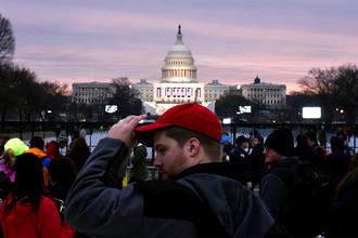 Сторонник Дональда Трампа перед инаугурацией около Капитолия в Вашингтоне, 20 января 2017 года