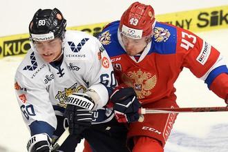 Момент матча Чешских хоккейных игр Россия — Финляндия