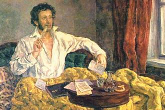 П.П. Кончаловский. Пушкин в Михайловском. Фрагмент картины. 1930–1951
