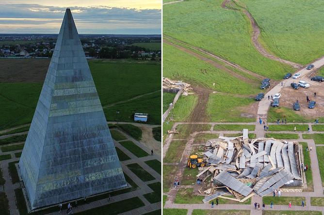 Пирамида Голода в Подмосковье в 2016 году и после разрушения 29 мая 2017 года