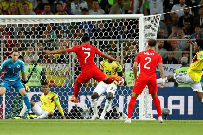 Во время матча 1/8 финала чемпионата мира по футболу между сборными Колумбии и Англии в Москве, 3 июля 2018 года