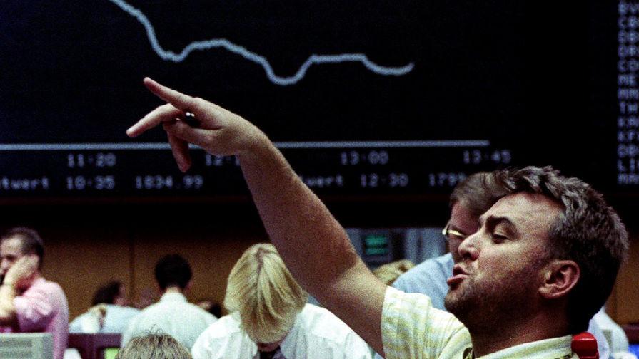 Трейдеры на франкфуртской бирже после падения фондового индекса DAX на фоне опасений за Европейскую валютную систему, 1993 год