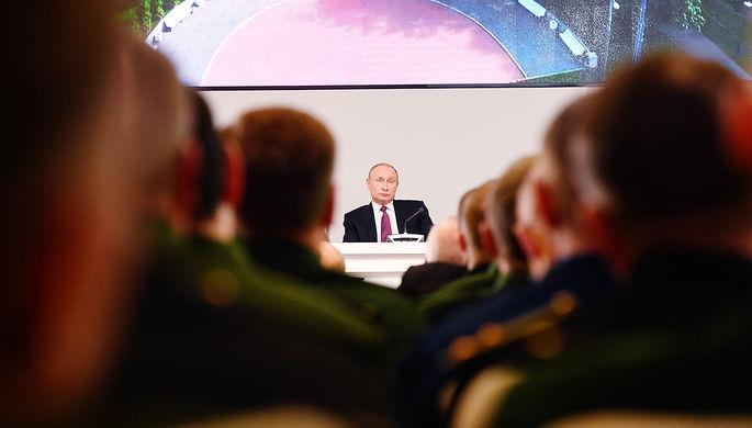 Президент России Владимир Путин во время расширенного заседания коллегии Министерства обороны, 22 декабря 2017 года
