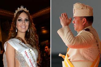 Мисс Москва — 2015 Оксана Воеводина и король Малайзии Мухаммад Пятый, коллаж «Газеты.Ru»