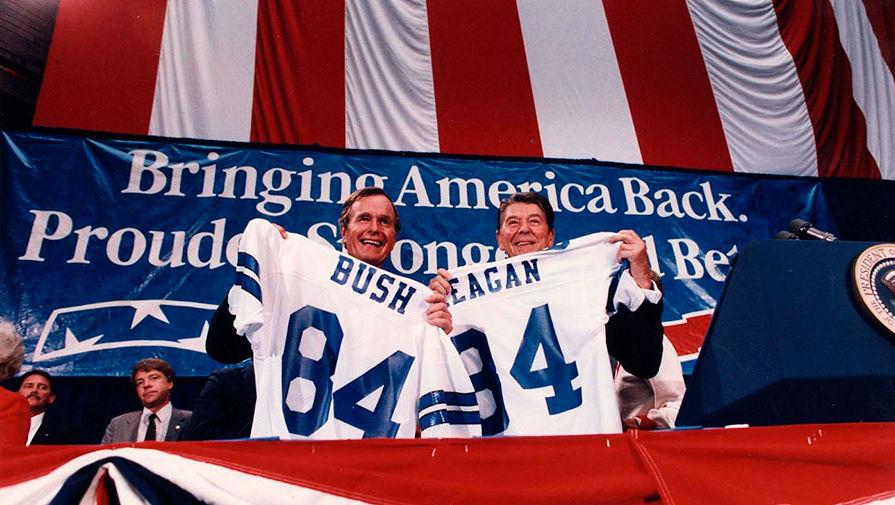 Роналд Рейган и Джордж Буш в Далласе, 1984 год