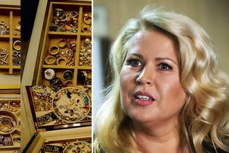 Ювелирные изделия изъятые при обыске в квартире Евгении Васильевой (слева)