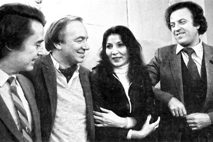 Джуна с поэтами Андреем Дементьевым, Андреем Вознесенским и Ильей Резником