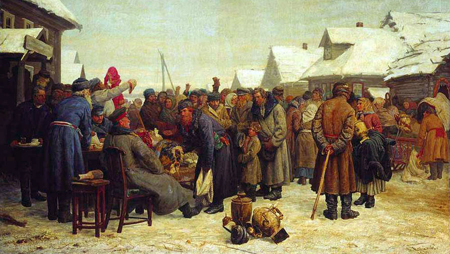 Василий Максимов. Аукцион за недоимки. 1880-1881