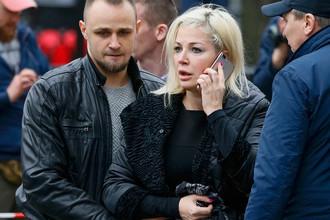 Мария Максакова на месте убийства Дениса Вороненкова в центре Киева, 23 марта 2017 года