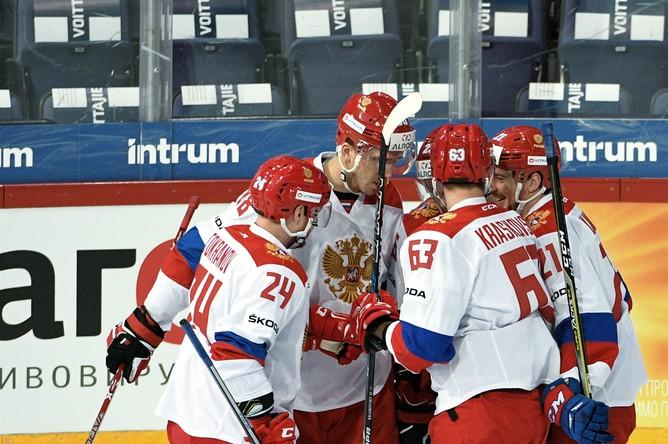 Игроки сборной России в матче первого этапа Евротура Кубка Карьяла между сборными командами России и Чехии.