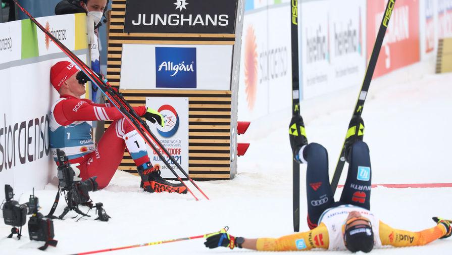 Российский лыжник Александр Большунов после марафонской гонки на чемпионате мира в Оберстдорфе, 7 марта 2021 года