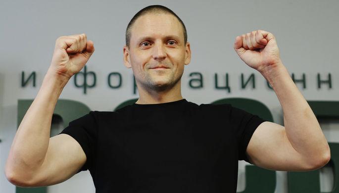 Лидер «Левого фронта» Сергей Удальцов во время пресс-конференции в Москве, 10 августа 2017 года