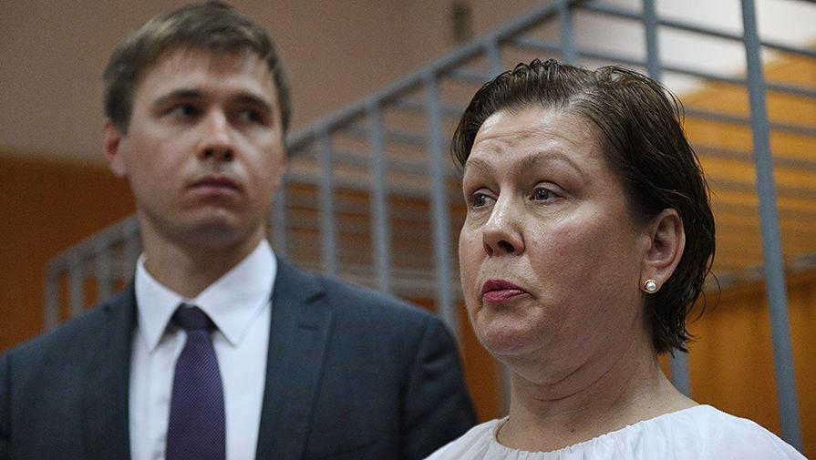 Бывший директор Библиотеки украинской литературы вМоскве Наталья Шарина во время оглашения приговора