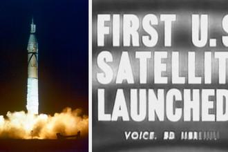 Старт ракеты «Юпитер Си» со спутником «Эксплорер-1» с мыса Канаверал 31 января 2018 года и кадр из телепередачи о событии, коллаж
